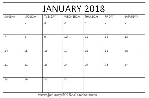 printable calendar 2018 to write on january 2018 calendar printable templates free printable