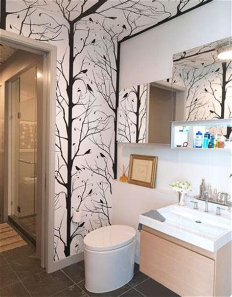 wallpaper in bathroom ideas wood vanity contemporary bathroom thom filicia