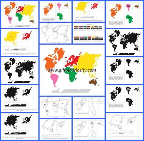printable montessori world map montessori continents 3 part cards and world map