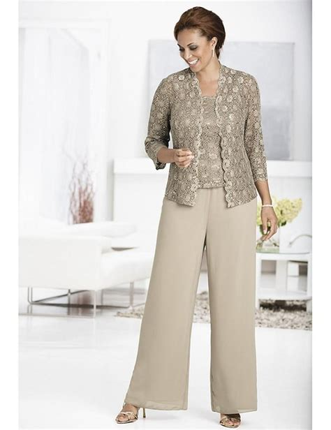 elegant mother   bride pant suits chiffon pants suit