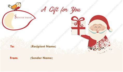 merry santa christmas gift certificate template  certificate templates