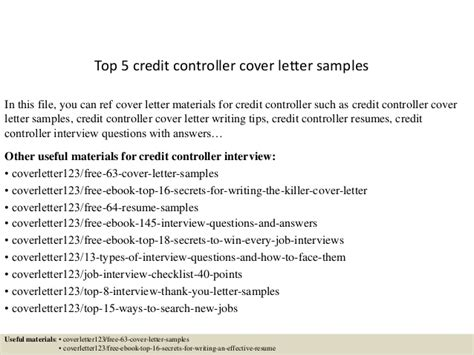 Covering Letter Application Credit Controller Top 5 Credit Controller Cover Letter Sles