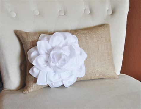 White Lumbar Pillow by Decorative Lumbar Pillow White Dahlia On Burlap Lumbar Pillow