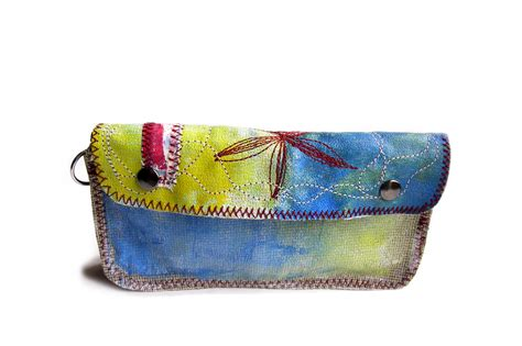 hand painted upholstery fabric hand painted upholstery wallet unique handbags by pamela
