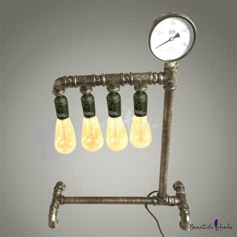 Vintage Retro Bulb Metal Iron Table Clock 4 Inches Jam Meja Mottled Iron Four Light Vintage Steunk Pipe Led Table L Takeluckhome