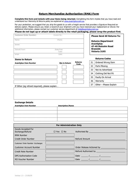 merchandise return form template best photos of return merchandise authorization form