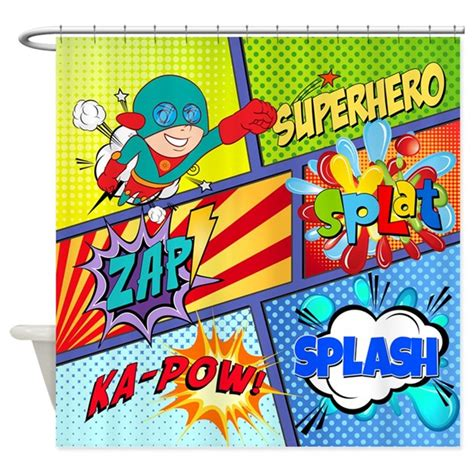 comic book shower curtain comic book superhero shower curtain by stargazerdesign