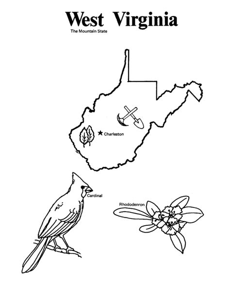 coloring page map of virginia usa printables state outline shape and demographic map