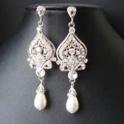 Pearl Chandelier Bridal Earrings Vintage Bridal Earrings Chandelier Wedding Earrings Deco