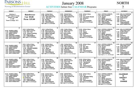 28 assisted living activity calendar template nursing