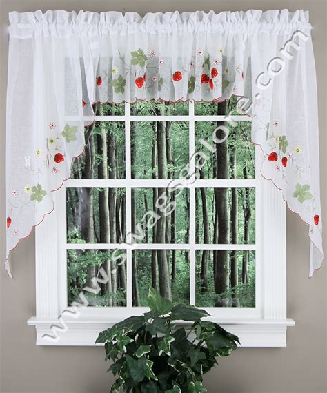 swag kitchen curtains strawberries swag curtain jabot swag kitchen curtains