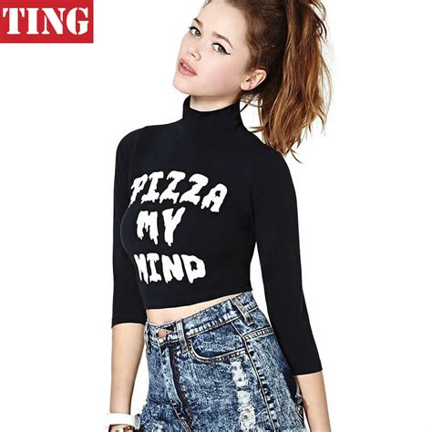 Crop Tops Fashion Letter Printed T Shirt black turtleneck pizza my mind letter print crop top t shirt plus size brand cropped tops