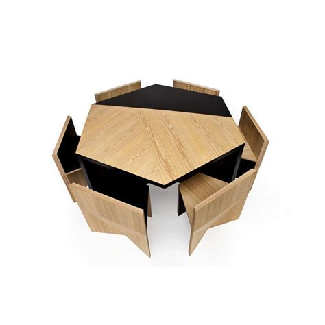 Hexagonal Dining Table Hexagonal Table With Nesting Chairs By Rafael De Cardenas Space Saving Furniture Furniture