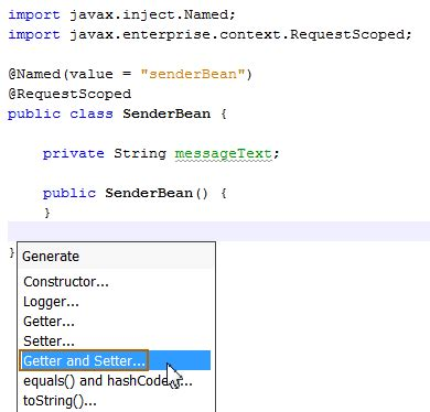 definition getter setter java java ee 7 creating a jms 2 0 producer and receiver