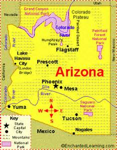 arizona state major maps arizona facts map and state symbols enchantedlearning