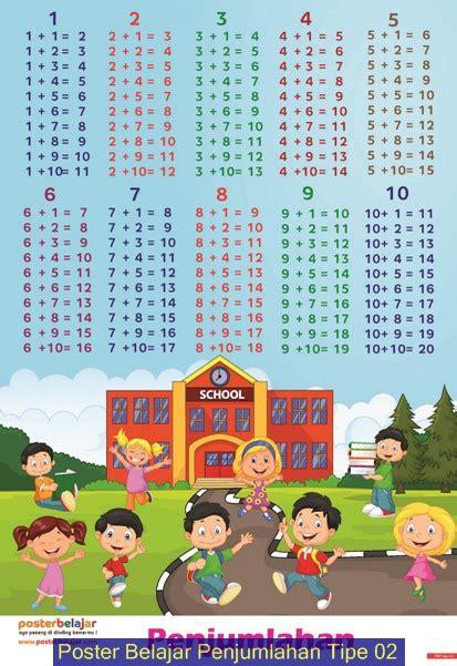 Poster Belajar Anak Tipe Matematika jual poster belajar matematika penjumlahan tipe 01 tipe 04 toko zakki