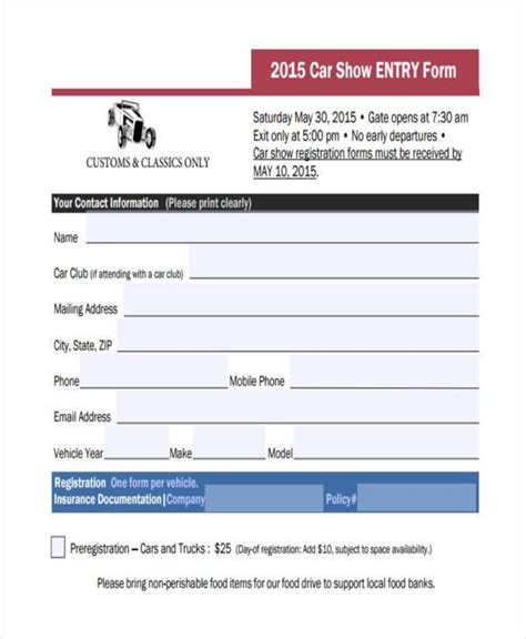 show entry form template 9 car show registration form sles free sle