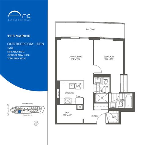 marine one floor plan the marine 1 bedroom den floor plan daniels arc condos