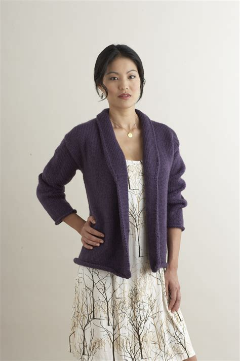free knitting patterns for women lion brand yarn company rachael shawl collared cardigan in lion brand vanna s choice