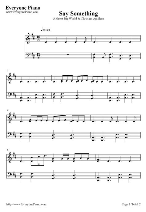 printable piano sheet music no download free free say something a great big world piano sheet music