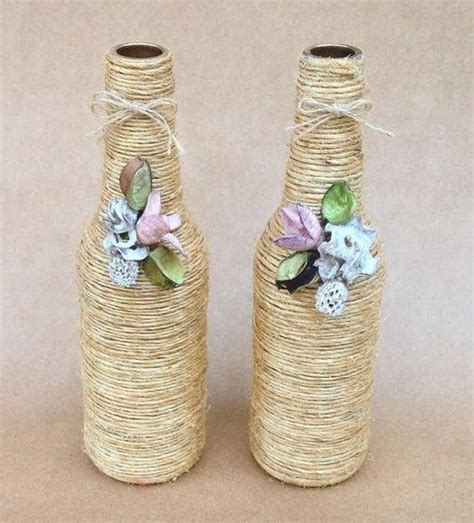 garrafas decoradas sisal duo de garrafas decoradas sisal e flores de biscui