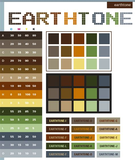 earth tone color schemes color combinations color palettes for print cmyk and web rgb html