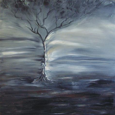 Tree Duvet Cover Winter Storm Painting By Lesley Anne Cornish