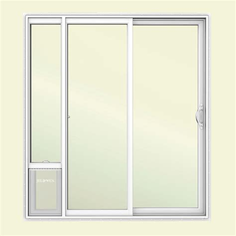 patio door doggie door jeld wen 72 in x 80 in white right vinyl patio door with low e argon glass and large pet