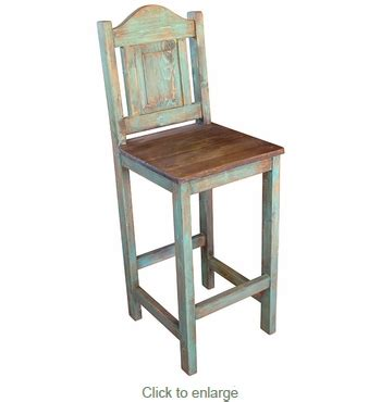 Wood Painted Bar Stools by Mexican Painted Wood Bar Stool With Metal Panel On Back