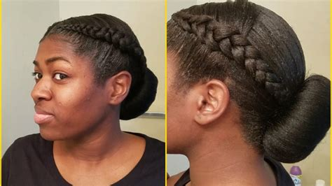 hairstyle with two corn row with bun to the side 2 cornrows with low bun protective hairstyle youtube