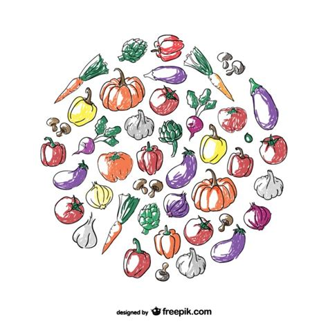 vegetable doodle vector free vegetables circle doodle vector free