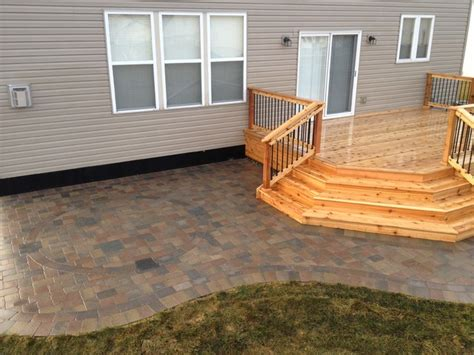 wood deck with paver patio macomb twp mi cedar deck oaks brick paver patio
