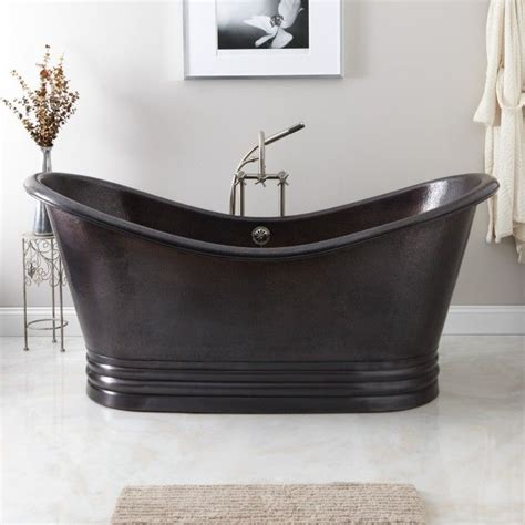 hammered copper bathtub 71 quot raye hammered copper double slipper tub on plinth 16