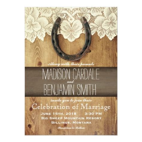 Western Wedding Invitation Paper by Country Western Horseshoe Lace Wedding Invitations Zazzle