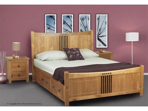 King Bed Frames With Drawers Sweet Dreams Curlew Oak 5ft King Size Wooden Bed Frame With Bed Drawers