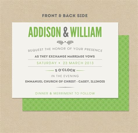 Printable Wedding Invitation Double Sided 5x7 Modern Green And Gray 19 50 Via Etsy Crafts Sided Invitations Templates