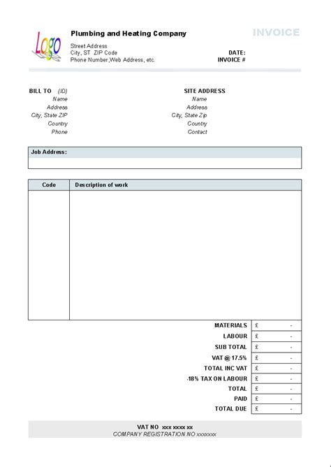 plumbing receipt template plumbing and heating invoice form invoice software
