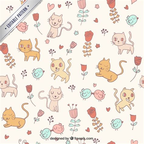 cute kitty pattern and tutorial cute cats pattern vector free download