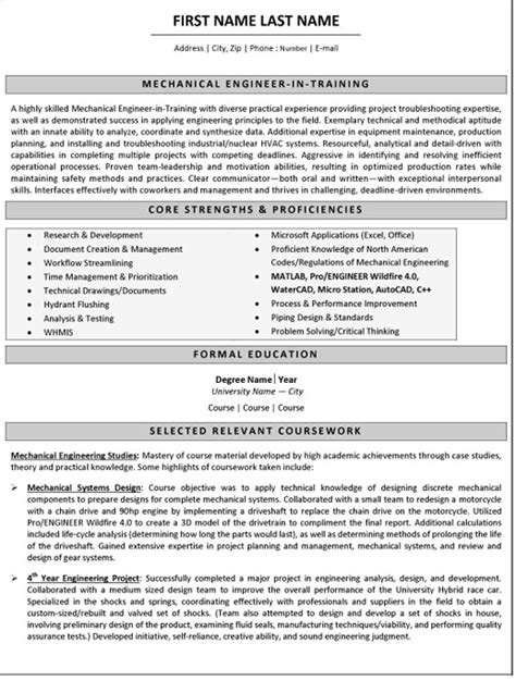 resume templates for mechanical engineers mechanical engineer resume sle template
