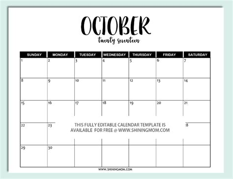 Free Printable Fully Editable 2017 Calendar Templates In Word Format Editable Template