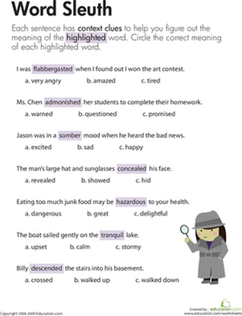 Context Clues Worksheets 2nd Grade by Context Clues Word Sleuth Worksheet Education