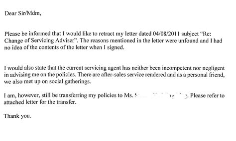 Insurance Transfer Letter Format Re Change Of Servicing Part Ii Heng S