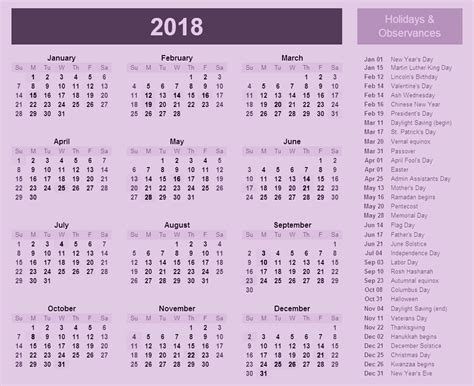 Calendar With Holidays For 2018 2018 Calendar With Holidays And Observances 2018