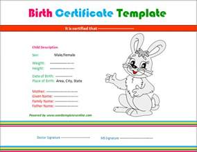 rabbit birth certificate template birth certificate template microsoft word templates