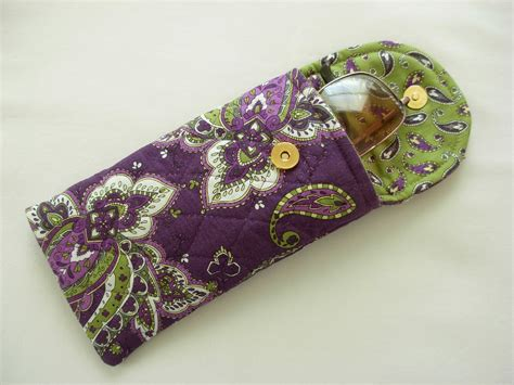free pattern quilted eyeglass case glasses case quilted designer fabric purple green by sewtype