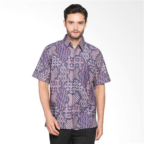Baju Kemeja Lengan Pendek Pria Batik Maroon Abstrak Tribal Slimfit jual blitique bugisan abstrak kemeja batik pria ungu