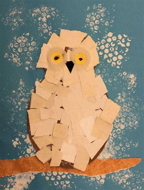 Snowy Owls Torn Paper Collage January 2013 Crafts - 44 best animals kinder provocations images on