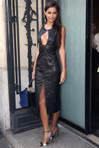 Malika menard attends jean paul gaultier show leather celebrities