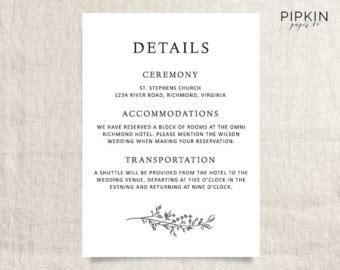 reception detail card free template wedding invitation details luxury wedding details card