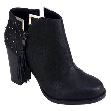 black studded leather ankle boots parisia fashion
